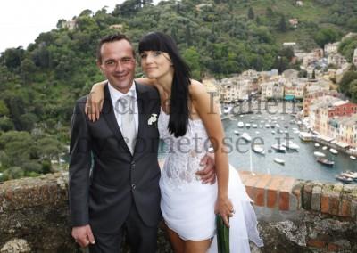 Brautpaar nach standesamtlicher Trauung in Portofino